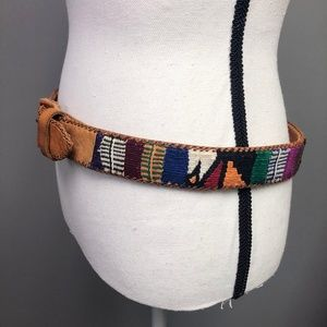VTG 70s Brown Leather Belt Multicolor Tribal Boho